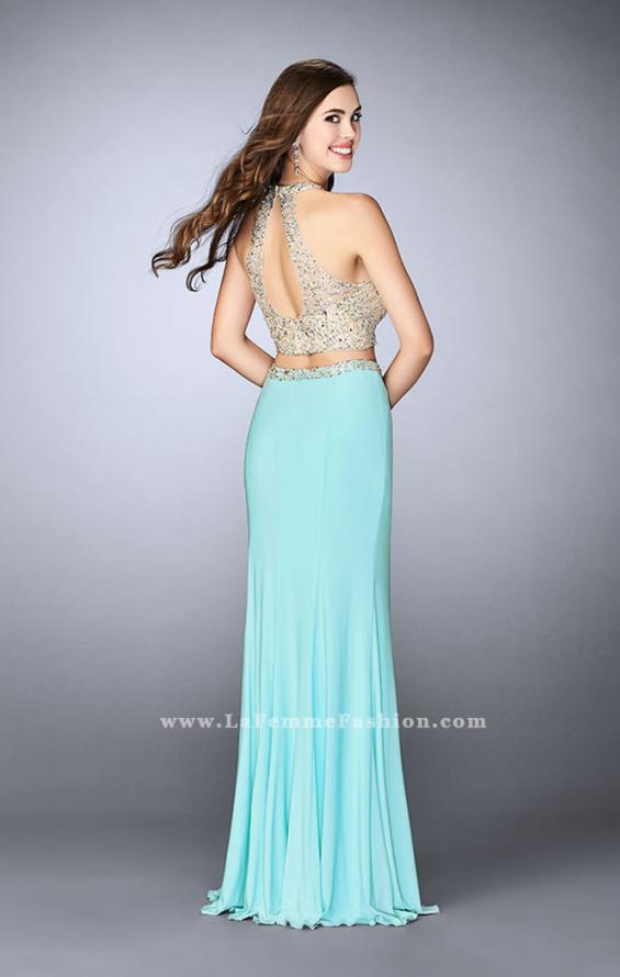 Picture of: High Neck Two Piece Dress With a Sheer Beading, Style: 23853, Back Picture