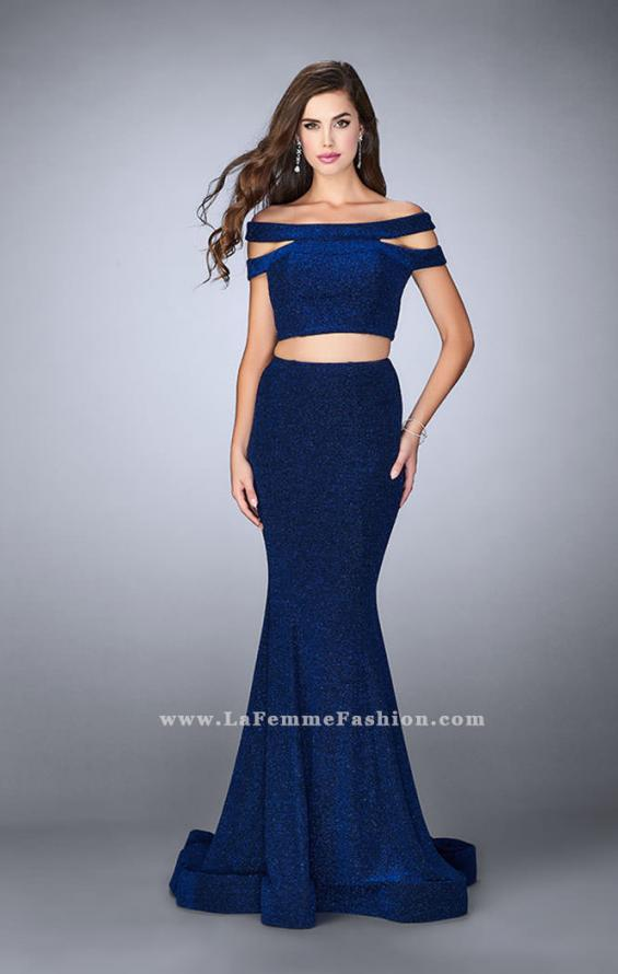 Picture of: Sparkly Two Piece Dress with Off the Shoulder Straps, Style: 23856, Back Picture