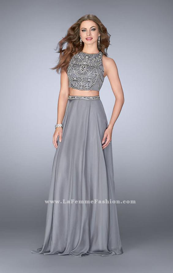 Picture of: High Neck Two Piece Dress With a Beaded Top, Style: 23860, Main Picture