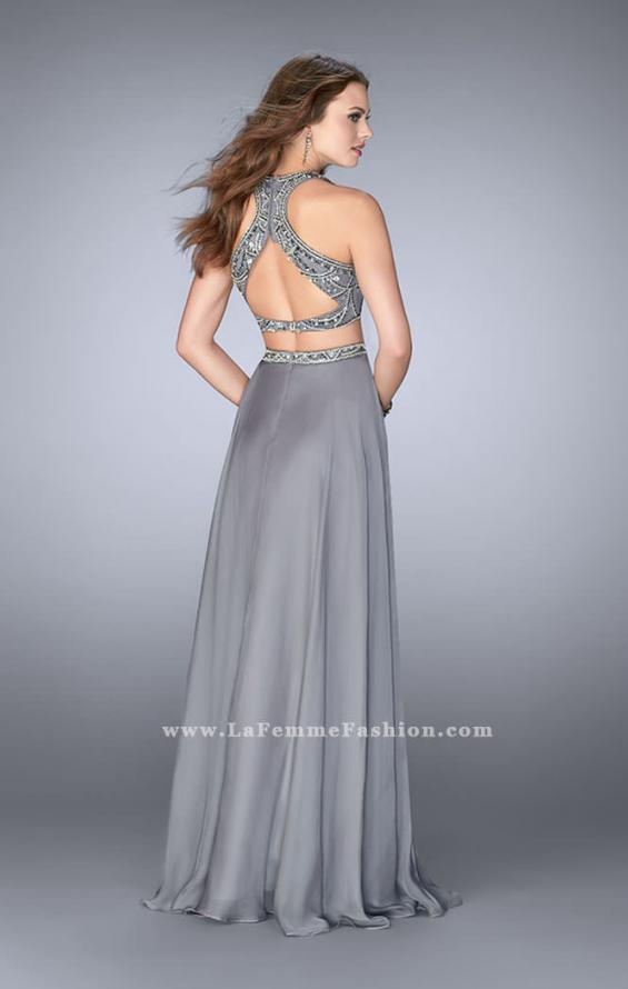 Picture of: High Neck Two Piece Dress With a Beaded Top, Style: 23860, Back Picture