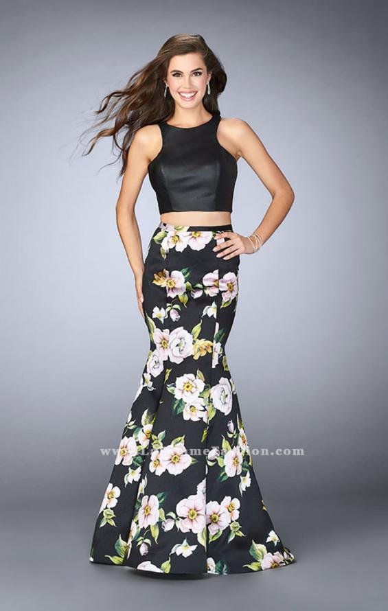 Picture of: Two Piece Mermaid Dress with Vegan Leather Top in Print, Style: 23863, Main Picture