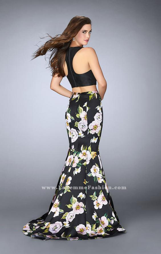 Picture of: Two Piece Mermaid Dress with Vegan Leather Top in Print, Style: 23863, Back Picture