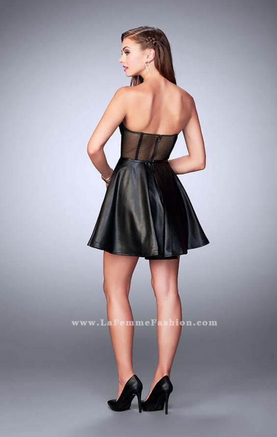 Picture of: Short Vegan Leather Dress with Fishnet Back in Black, Style: 23871, Back Picture