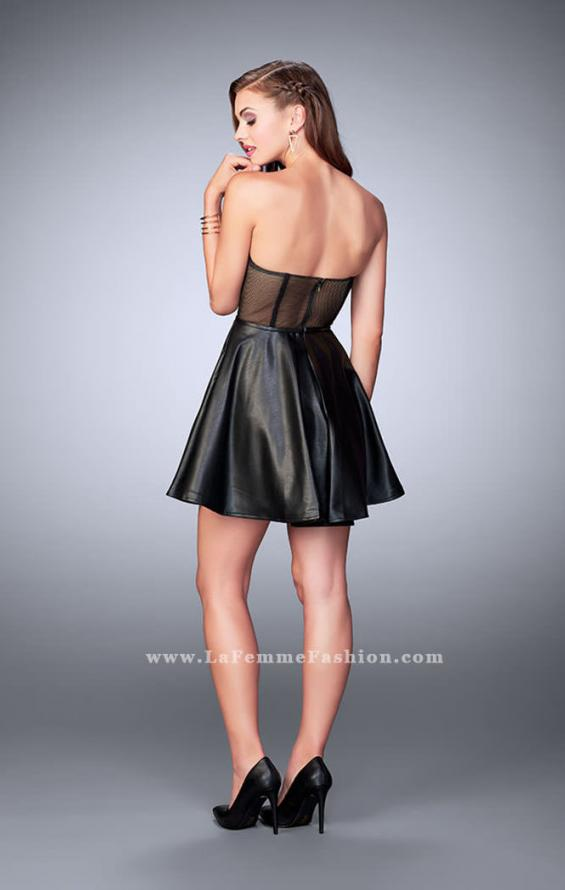 Picture of: Short Vegan Leather Dress with Fishnet Back in Black, Style: 23871, Detail Picture 2