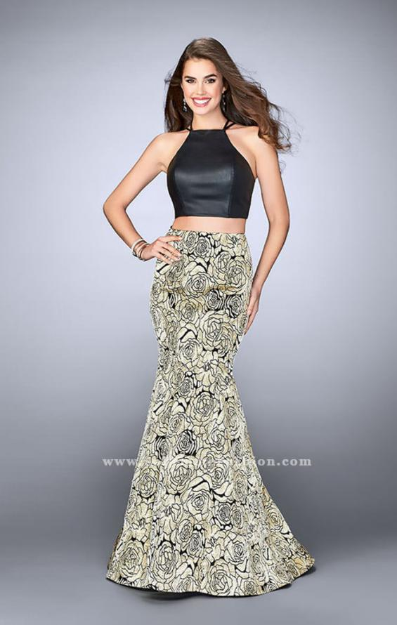 Picture of: Two Piece Mermaid Dress with Rose Printed Skirt in Gold, Style: 23872, Main Picture