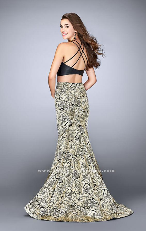 Picture of: Two Piece Mermaid Dress with Rose Printed Skirt in Gold, Style: 23872, Back Picture
