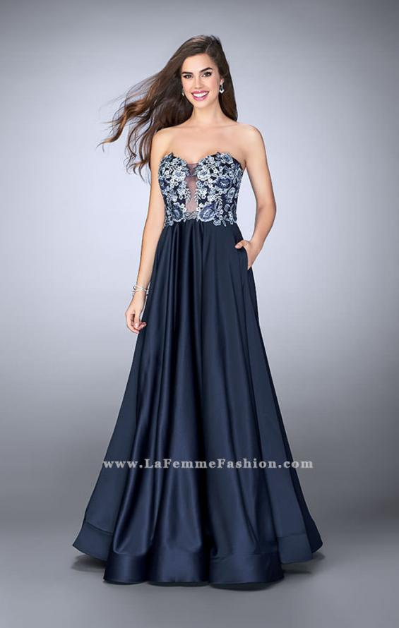 Picture of: Satin A-line Dress with Beaded Lace Top and Open Back in Blue, Style: 23881, Main Picture