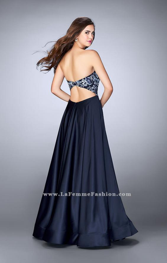 Picture of: Satin A-line Dress with Beaded Lace Top and Open Back in Blue, Style: 23881, Back Picture