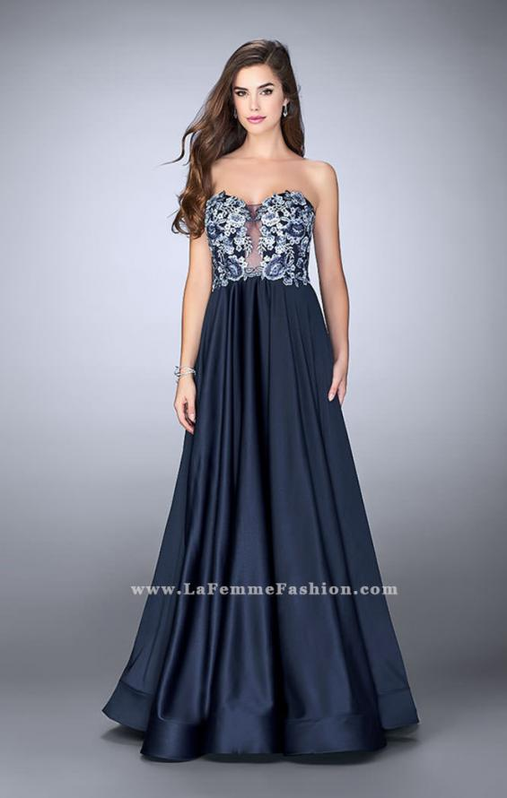 Picture of: Satin A-line Dress with Beaded Lace Top and Open Back in Blue, Style: 23881, Detail Picture 1