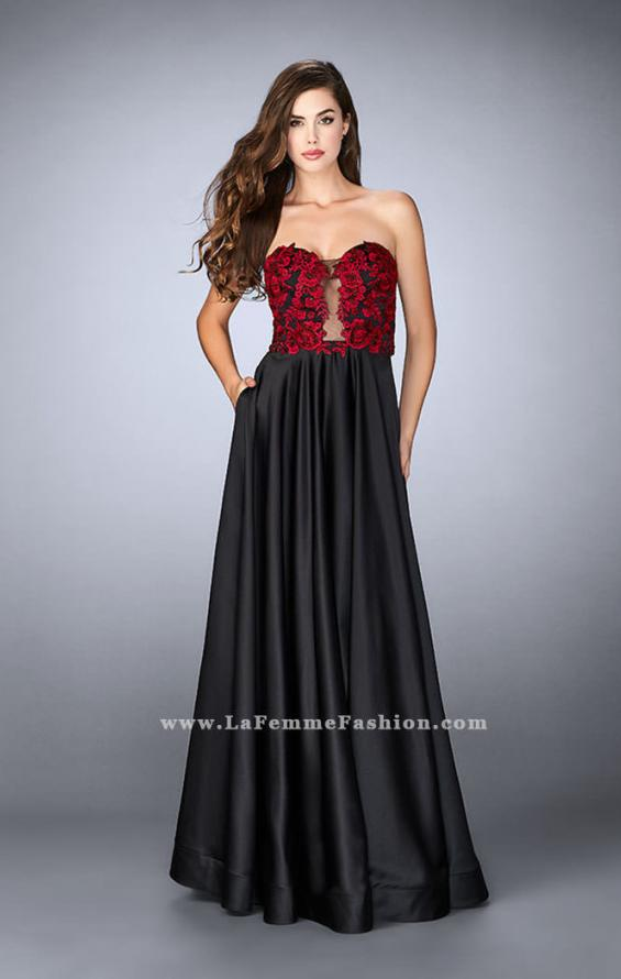 Picture of: Satin A-line Dress with Beaded Lace Top and Open Back in Black, Style: 23881, Detail Picture 2