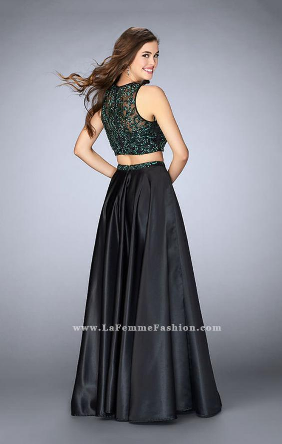 Picture of: Beaded Two Piece Dress with Full Satin Skirt in Black., Style: 23883, Back Picture