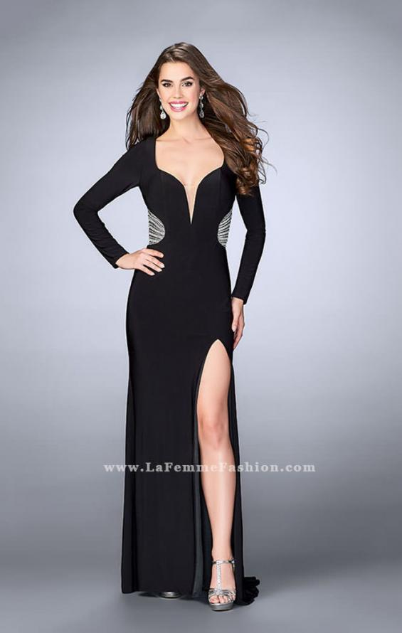 Picture of: Long Sleeve Jersey Dress with Beading and Open Back in Black, Style: 23885, Main Picture
