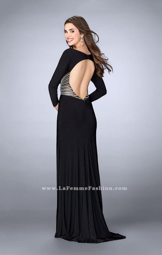 Picture of: Long Sleeve Jersey Dress with Beading and Open Back in Black, Style: 23885, Back Picture
