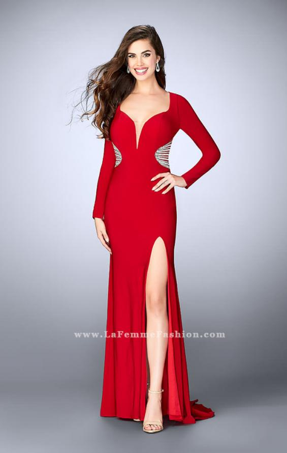 Picture of: Long Sleeve Jersey Dress with Beading and Open Back in Red, Style: 23885, Detail Picture 1