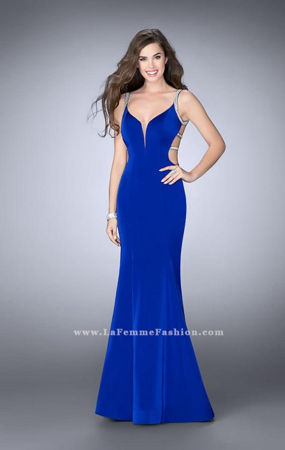 Picture of: Fitted Dress with Deep V Neckline and Beaded Back in Blue, Style: 23887, Back Picture