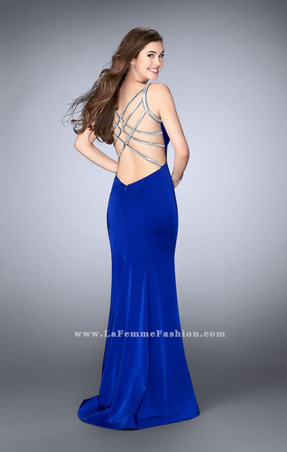 Picture of: Fitted Dress with Deep V Neckline and Beaded Back in Blue, Style: 23887, Detail Picture 1