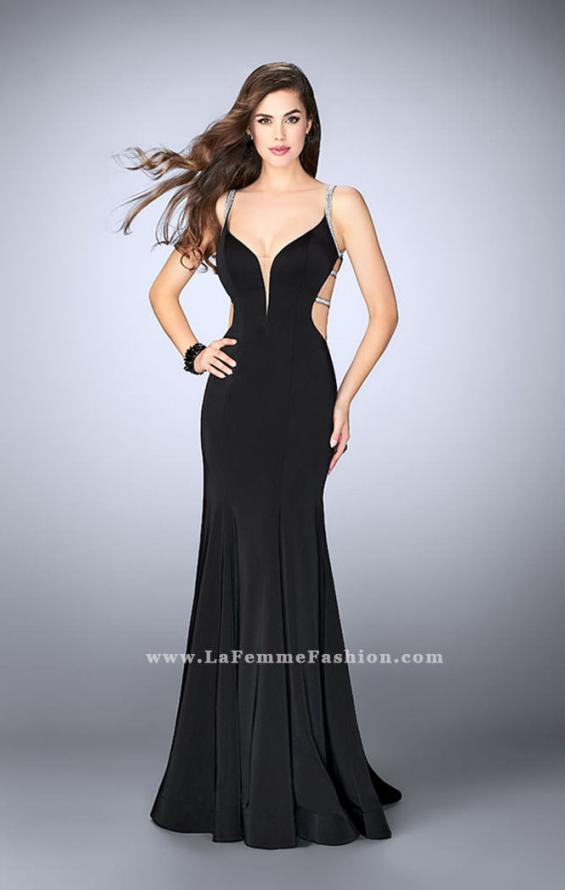 Picture of: Fitted Dress with Deep V Neckline and Beaded Back in Black, Style: 23887, Detail Picture 2