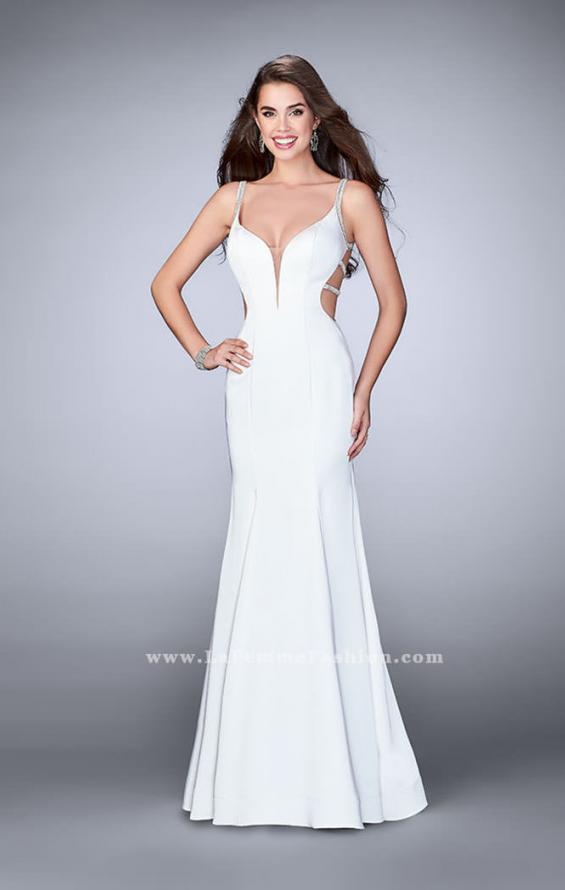 Picture of: Fitted Dress with Deep V Neckline and Beaded Back in White, Style: 23887, Detail Picture 3