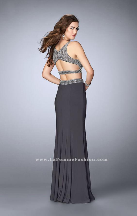 Picture of: Beaded Two Piece Dress with a Fitted Skirt and Cut Outs, Style: 23904, Back Picture