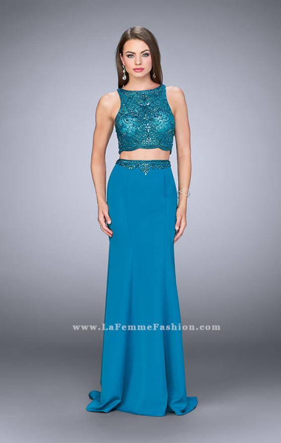Picture of: Two Piece Dress with Sheer Top and Scalloped Edges, Style: 23907, Main Picture