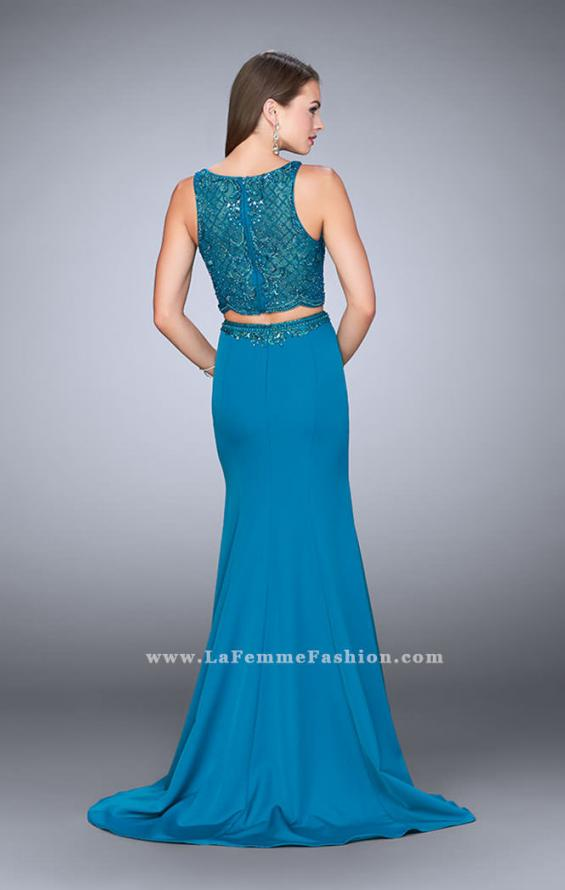 Picture of: Two Piece Dress with Sheer Top and Scalloped Edges, Style: 23907, Back Picture