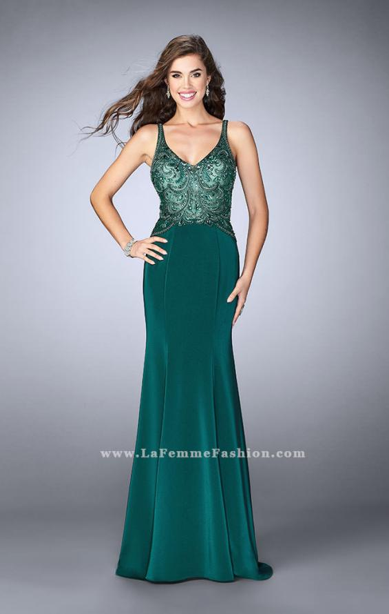Picture of: Fitted Jersey Dress with Sheer Beaded Top and Cut Outs, Style: 23909, Main Picture