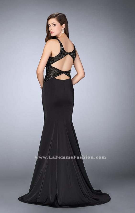 Picture of: Fitted Jersey Dress with Sheer Beaded Top and Cut Outs, Style: 23909, Detail Picture 3