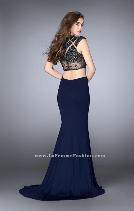 Picture of: Long Two Piece Prom Dress with cap sleeves, Style: 23910, Back Picture