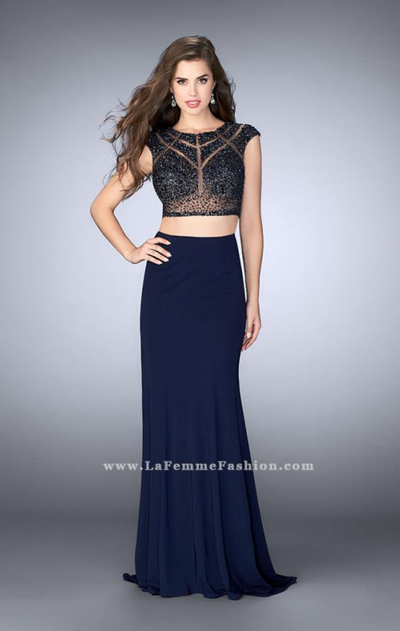 Picture of: Long Two Piece Prom Dress with cap sleeves, Style: 23910, Detail Picture 2
