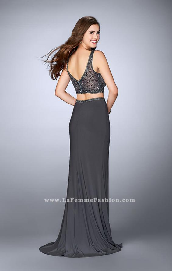 Picture of: Beaded Two Piece Prom Gown with a V Neckline in Silver, Style: 23913, Back Picture