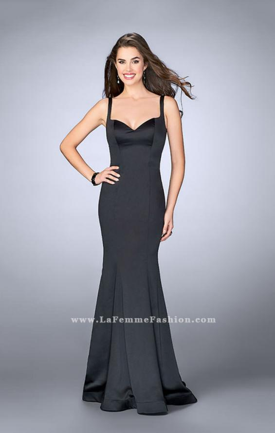 Picture of: Satin Mermaid Dress with a Cut Out Back and Bows in Black, Style: 23914, Back Picture