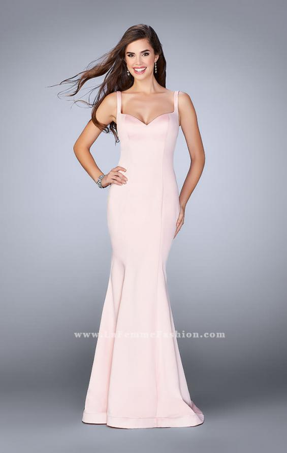 Picture of: Satin Mermaid Dress with a Cut Out Back and Bows in Pink, Style: 23914, Detail Picture 1
