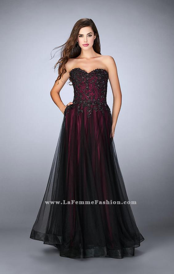 Picture of: Tulle A-line Dress with Beaded Lace Bodice in Red, Style: 23920, Main Picture