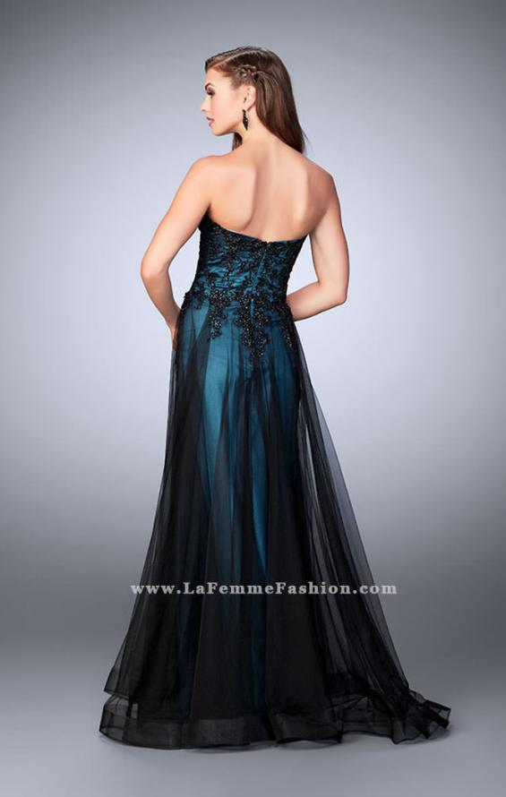 Picture of: Tulle A-line Dress with Beaded Lace Bodice in Blue, Style: 23920, Back Picture