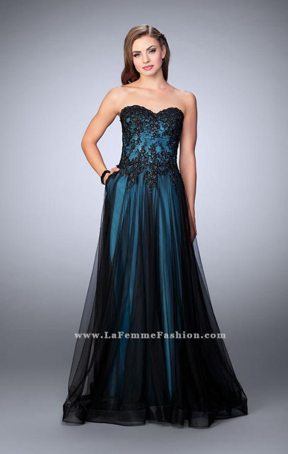 Picture of: Tulle A-line Dress with Beaded Lace Bodice in Blue, Style: 23920, Detail Picture 1