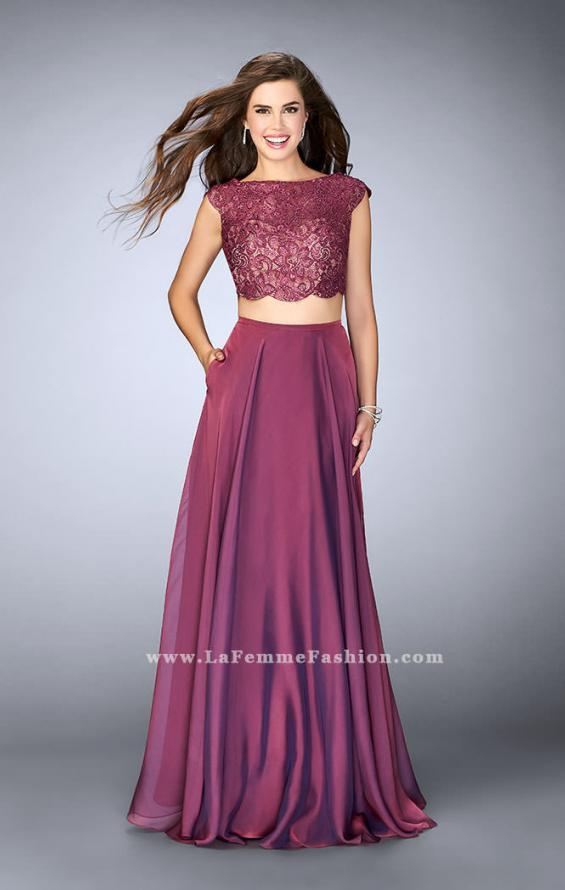 Picture of: Two Piece A-line Dress with Scalloped Top and Pockets in Purple, Style: 23922, Main Picture
