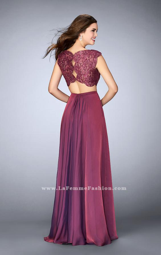 Picture of: Two Piece A-line Dress with Scalloped Top and Pockets in Purple, Style: 23922, Back Picture