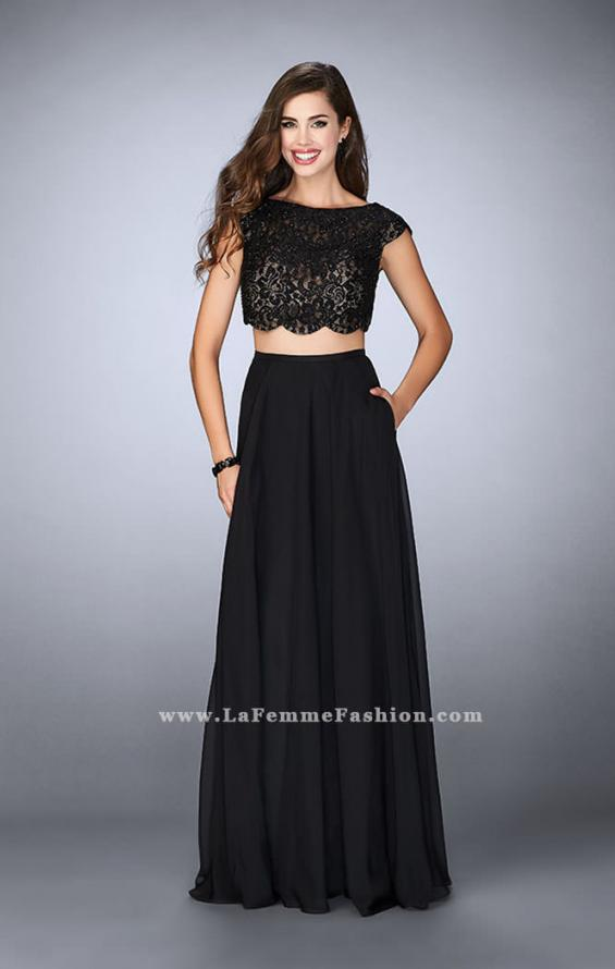 Picture of: Two Piece A-line Dress with Scalloped Top and Pockets in Black, Style: 23922, Detail Picture 1