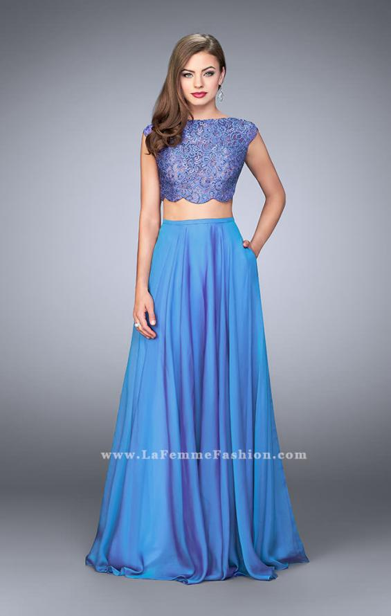 Picture of: Two Piece A-line Dress with Scalloped Top and Pockets in Blue, Style: 23922, Detail Picture 2