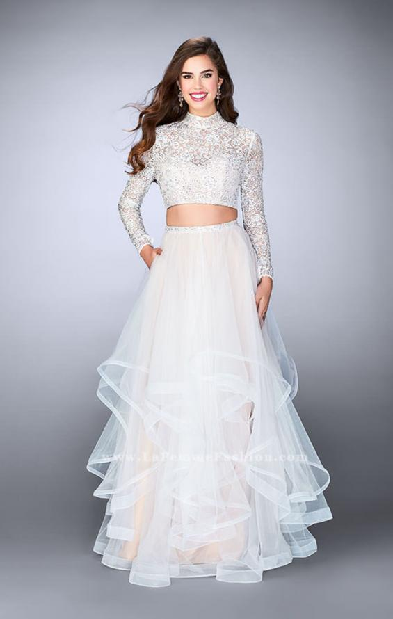 Picture of: Long Sleeve Two Piece Prom Dress with Pockets in White, Style: 23924, Main Picture