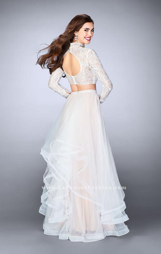Picture of: Long Sleeve Two Piece Prom Dress with Pockets in White, Style: 23924, Back Picture