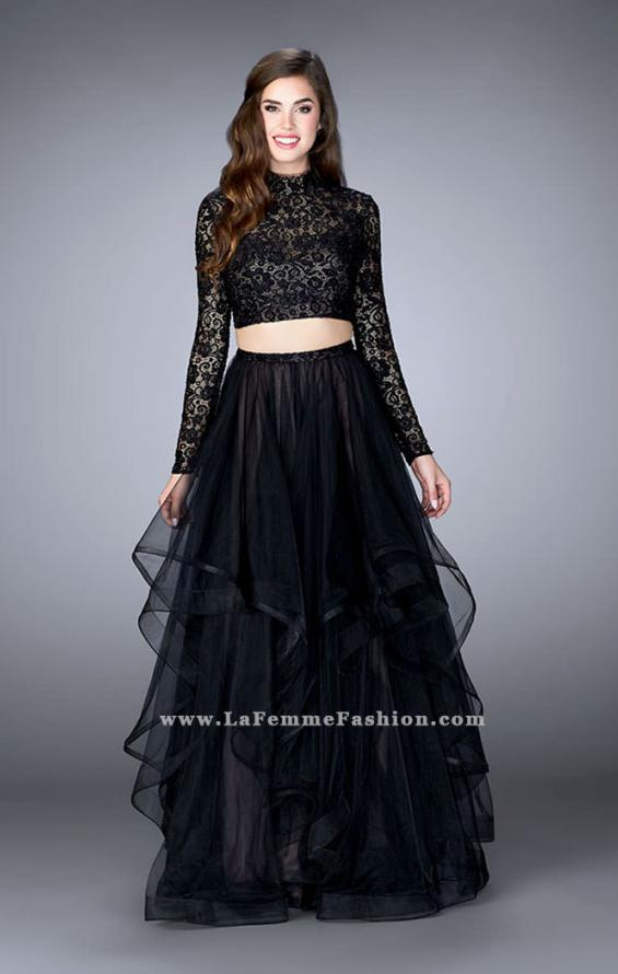 Picture of: Long Sleeve Two Piece Prom Dress with Pockets in Black, Style: 23924, Detail Picture 1