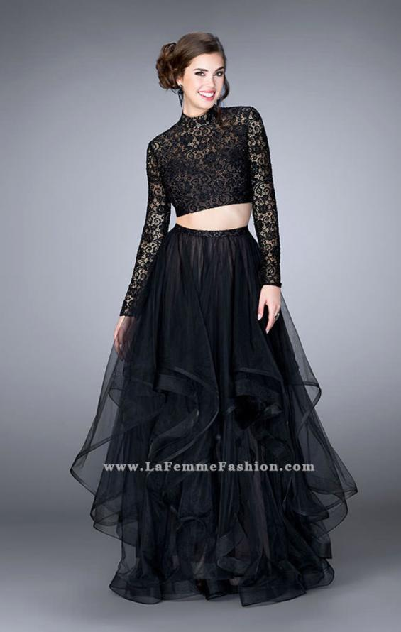 Picture of: Long Sleeve Two Piece Prom Dress with Pockets in Black, Style: 23924, Detail Picture 2