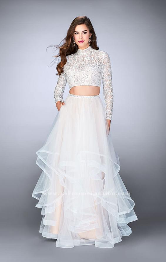 Picture of: Long Sleeve Two Piece Prom Dress with Pockets in White, Style: 23924, Detail Picture 3
