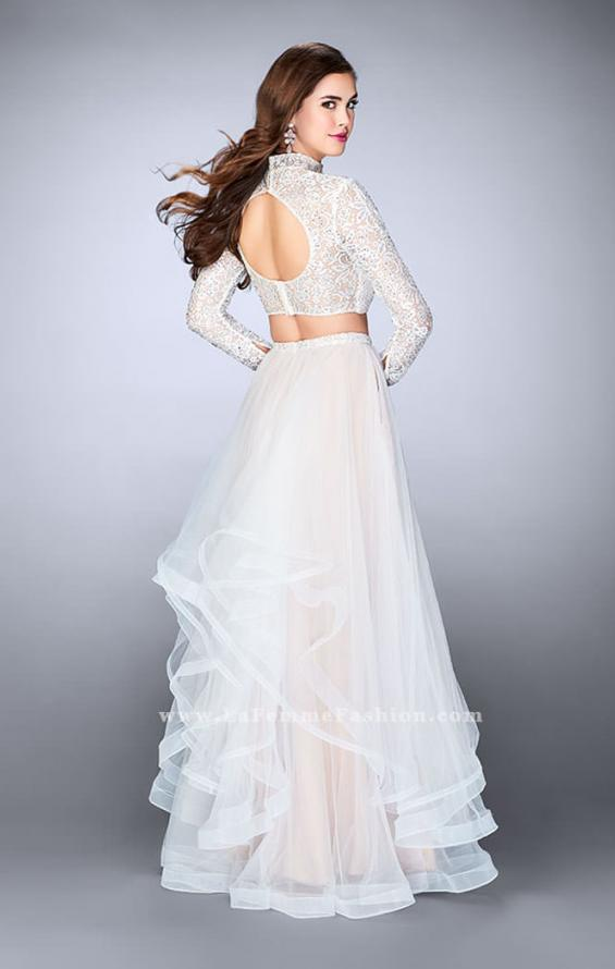 Picture of: Long Sleeve Two Piece Prom Dress with Pockets in White, Style: 23924, Detail Picture 4