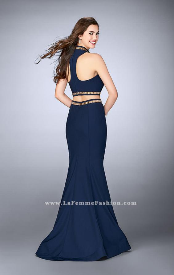 Picture of: Prom Dress with High Collar and Mermaid Skirt in Blue, Style: 23932, Back Picture