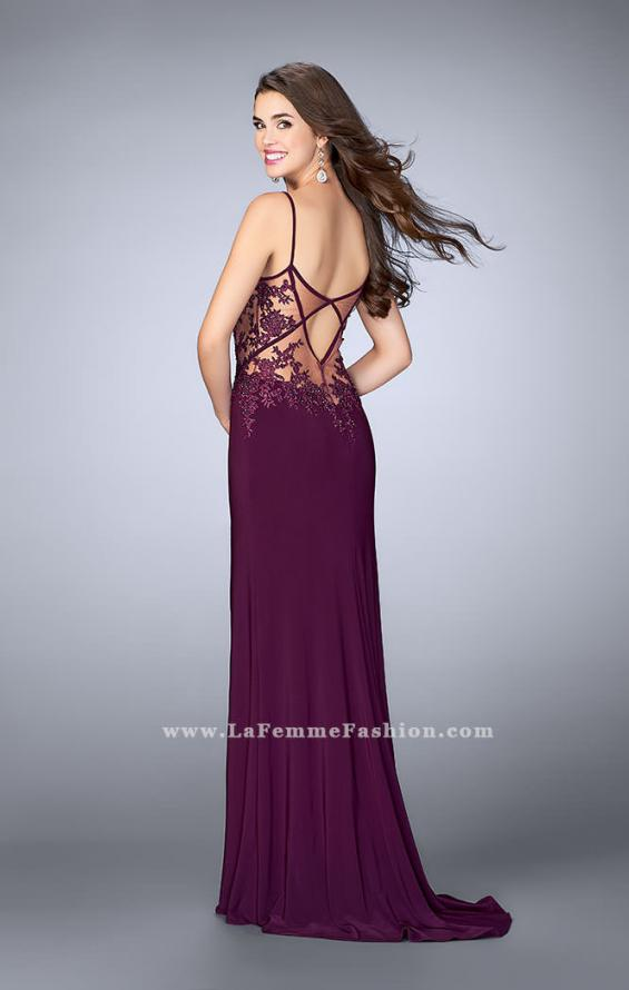 Picture of: Fitted Lace Dress with Sheer Neckline and Beading in Purple, Style: 23935, Back Picture