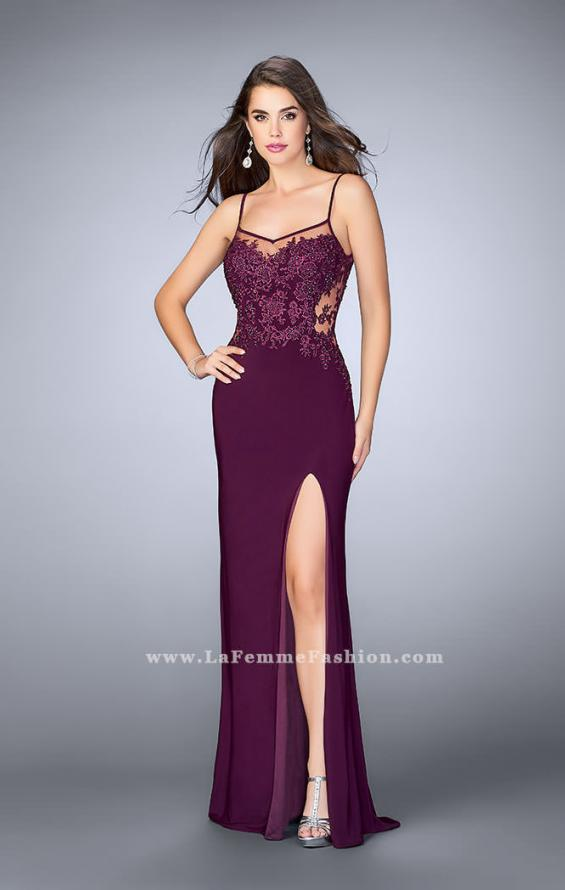 Picture of: Fitted Lace Dress with Sheer Neckline and Beading in Purple, Style: 23935, Detail Picture 1