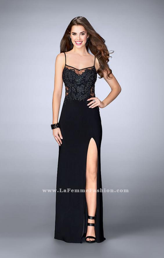 Picture of: Fitted Lace Dress with Sheer Neckline and Beading in Black, Style: 23935, Detail Picture 3