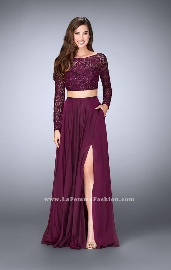 Picture of: Long Sleeve Two Piece Gown with Sheer Neckline, Style: 23937, Main Picture